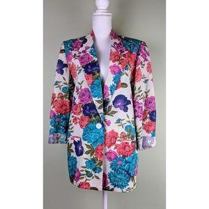 Worthington Linen Bright Floral Blazer Jacket